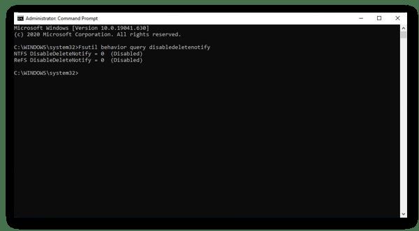 Verificando se TRIM é ativado no Prompt de Comando no Windows 10