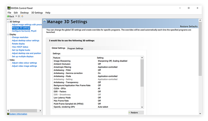 Managing 3D Settings in the Nvidia Control Panel for Windows 10