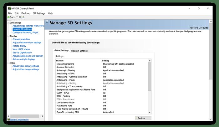 Gerenciando Configurações 3D no Painel de Controle Nvidia no Windows 10