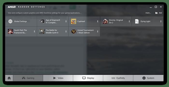 Configurações de placa de vídeo AMD Radeon no Windows