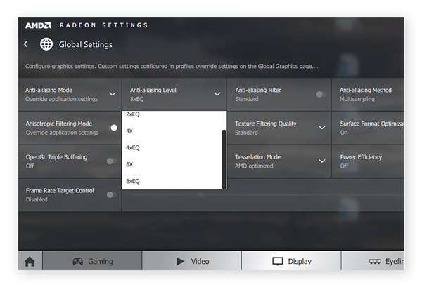 Adjusting the anti-aliasing level within the AMD Radeon Settings for Windows