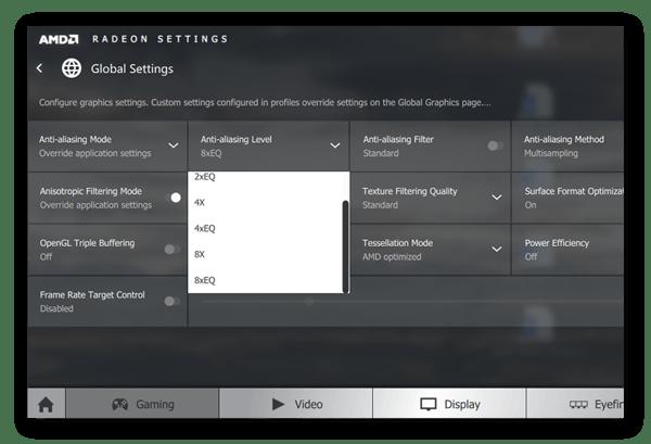 Ajustando o nível de anti-aliasing dentro das Configurações AMD Radeon no Windows