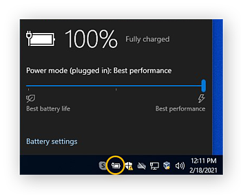 You can optimize gaming performance on your laptop by setting your battery to Best performance.
