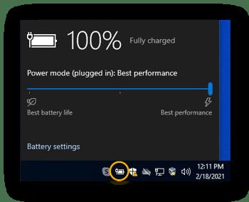 Você pode otimizar o desempenho do seu laptop em jogos, configurando a bateria para Melhor desempenho.