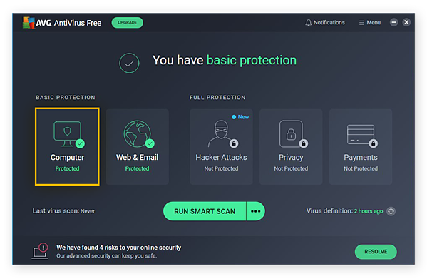 Opening the Computer protection tools in AVG AntiVirus FREE for Windows 10