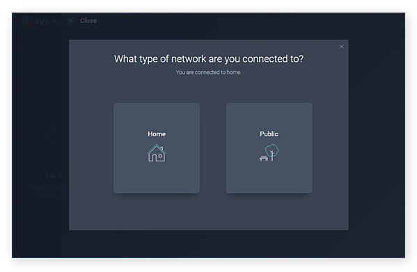 Choosing to scan a Home or Public network with the Network Inspector tool in AVG AntiVirus FREE for Windows 10
