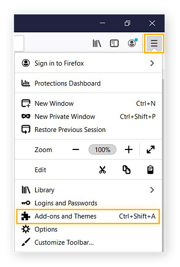 Mozilla Firefox Menu expanded, highlighting Add-ons and Themes.