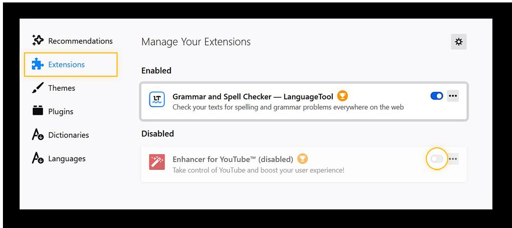 Firefox add-ons menu, disabling an extension.