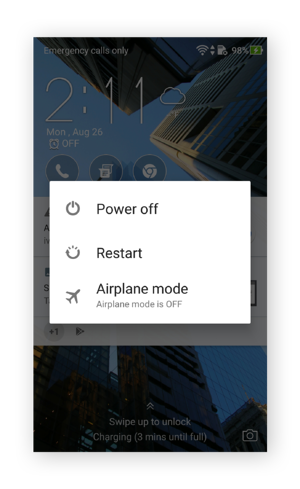 Android's power off screen