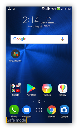 Android's home screen in safe mode
