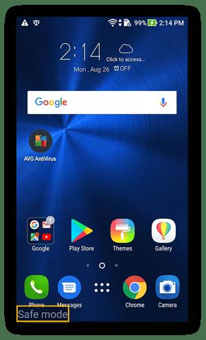 Startscherm in de veilige modus in Android