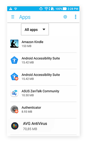 App settings screen for Android
