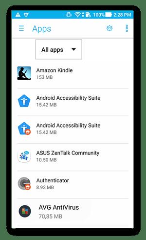 Scherm met app-instellingen voor Android