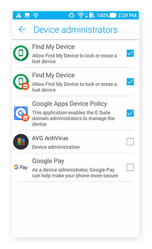 Device adminstrator permissions screen for Android