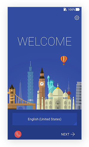 Welcome screen for Android