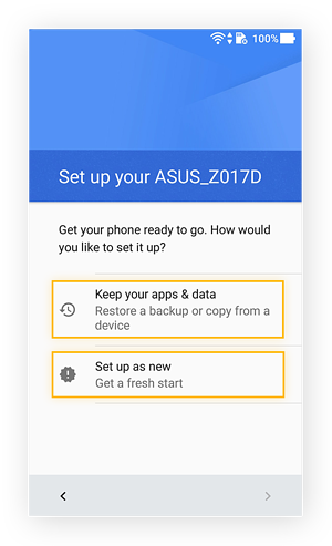 Screen prompting whether a user wants to use backup data or start fresh for Android