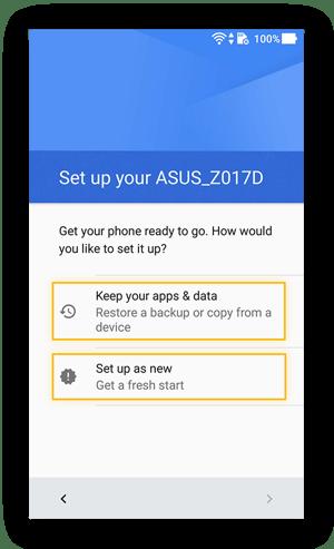 Scherm in Android met de vraag of de gebruiker back-upgegevens wil gebruiken of opnieuw beginnen
