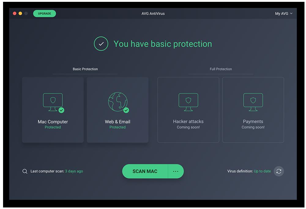"""Fenster """"Basisschutz"""" in AVG AntiVirus für Mac"""