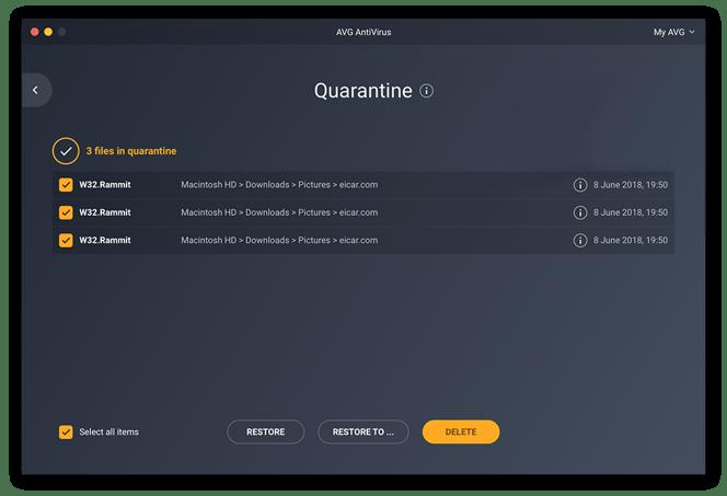 Anzeigen von Dateien in Quarantäne in AVG AntiVirus