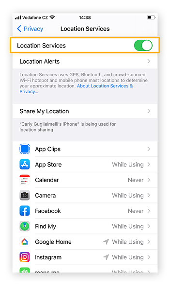 See which apps have access to your location by checking the Location Services tab within the Privacy tab of the Settings app.
