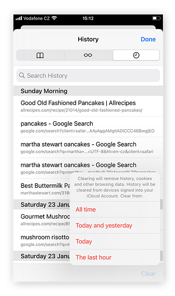Decide how far back to clear cookies and search data: All time, Today and yesterday, Today, or The last hour.