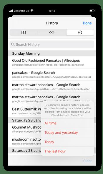 Elija el período de tiempo para el que desea borrar las cookies y los datos de búsqueda: Todo el tiempo, hoy y ayer, hoy o la última hora.