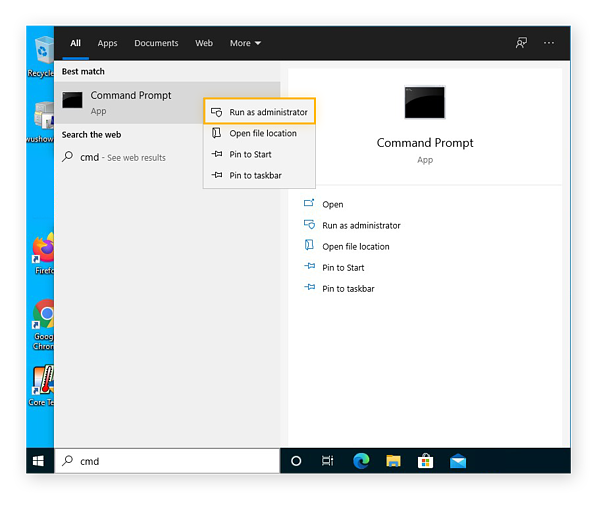 Opening the Command Prompt as an administrator in Windows 10