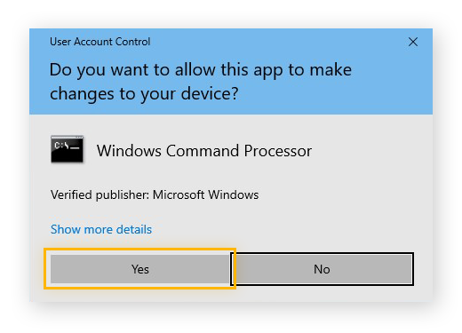 Choosing to allow Windows Command Processor to make changes to your device on Windows 10