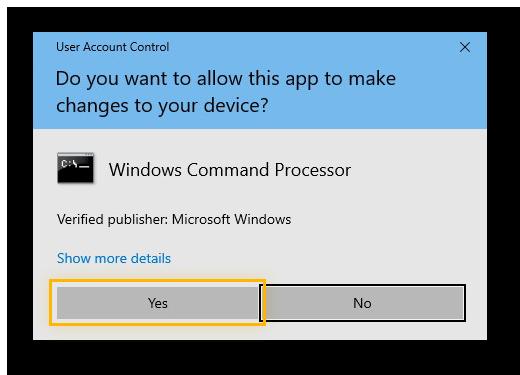 Autoriser l'interpréteur de commandes Windows à apporter des modifications à l'appareil sur Windows 10