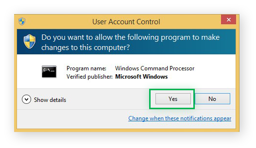 Choosing to allow Windows Command Processor to make changes to your device on Windows 8.1