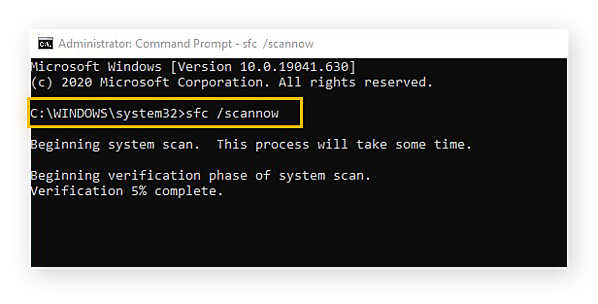 """Entering the command """"sfc /scannow"""" in the Command Prompt window for Windows 10"""