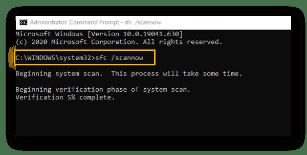 Saisissez la commande scf/scannow dans l'Invite de commande Windows10.