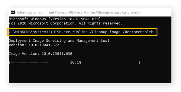 Running the DISM tool in Windows 10