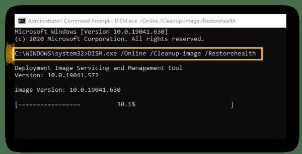 Exécuter la commande DISM sur Windows10