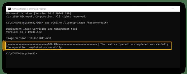 Invite de commande dans Windows10, avec analyse DISM terminée.