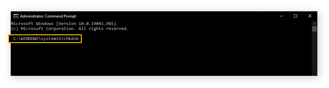 """A picture of the command prompt, with """"chkdsk"""" typed into the input."""