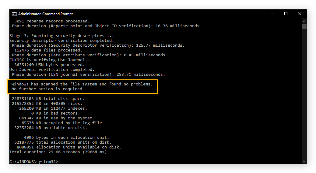 An example of results from running chkdsk. The results say that no problems were found.