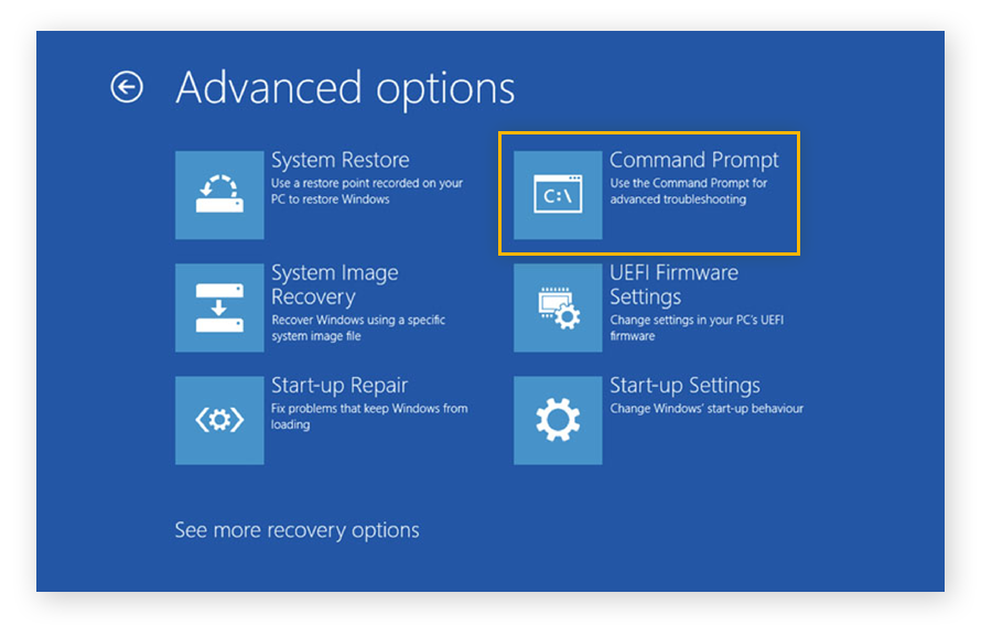 A screenshot of the advanced options you can access when you boot from Windows 10 Installation disk.