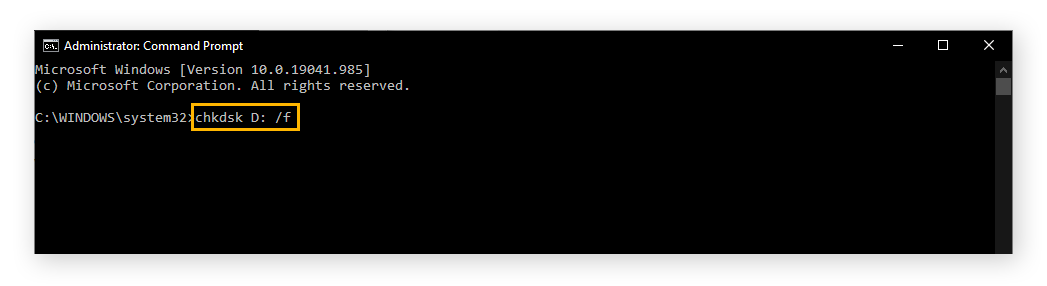 """Image of command prompt with the appropriate command for running CHKDSK on the D drive. """"chkdsk D: /f"""""""