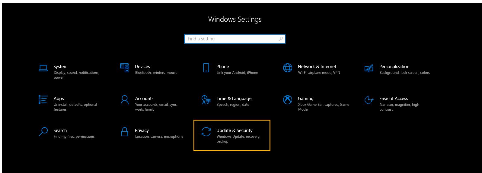 A screenshot of Windows 10's settings window. Update & Security is circled.