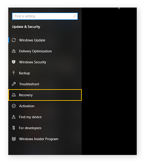 """The menu for Update & Security in Windows Settings. """"Recovery"""" is circled."""