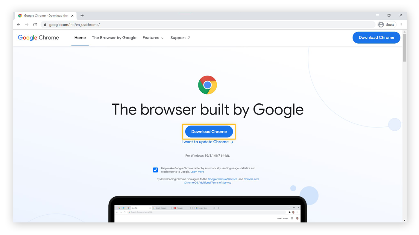 "The Google Chrome webpage, highlighting the ""Download Chrome"" button"