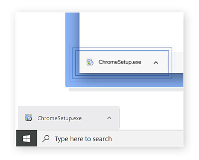 A download file pop-up on Windows OS. The file is ChromeSetup.exe