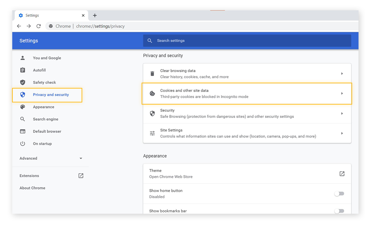 Google Chrome settings menu, under the privacy and security options. With Cookies and other site data highlighted.