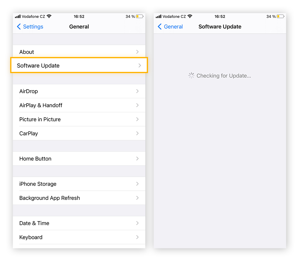 Within the General tab of the Settings app, tap Software Update to get the newest version of iOS.