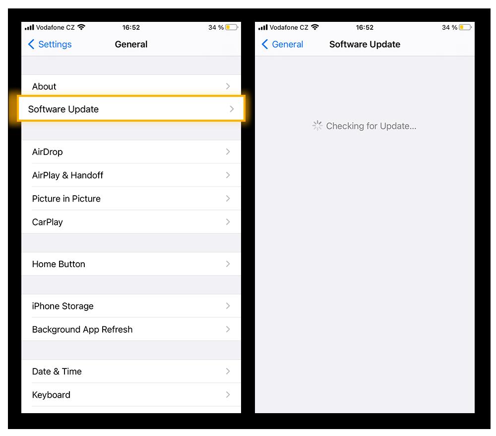 Klik op het tabblad Algemeen in de app Instellingen op Software-update om de nieuwste versie van iOS te downloaden.