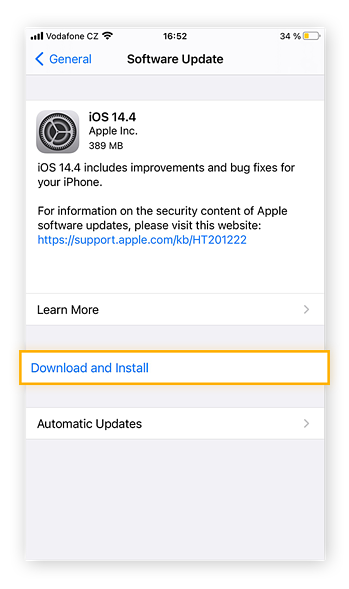The final step of installing new iOS software is to review the software update and then tap Download and Install.