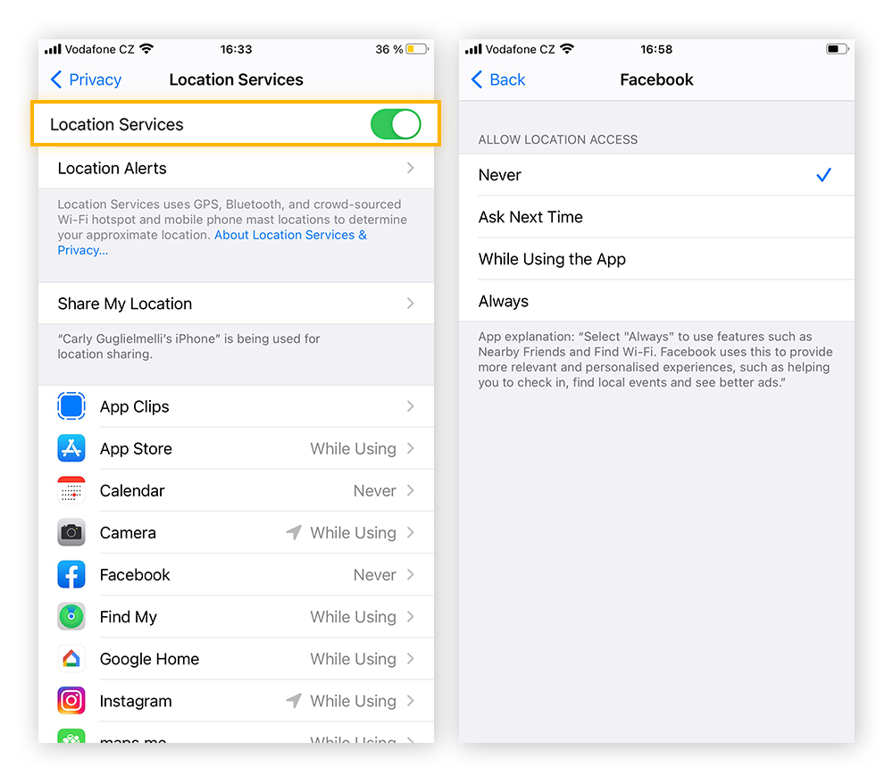 Navigate to Location Services within the Privacy tab to set permissions for the entire iPhone, or for individual apps.