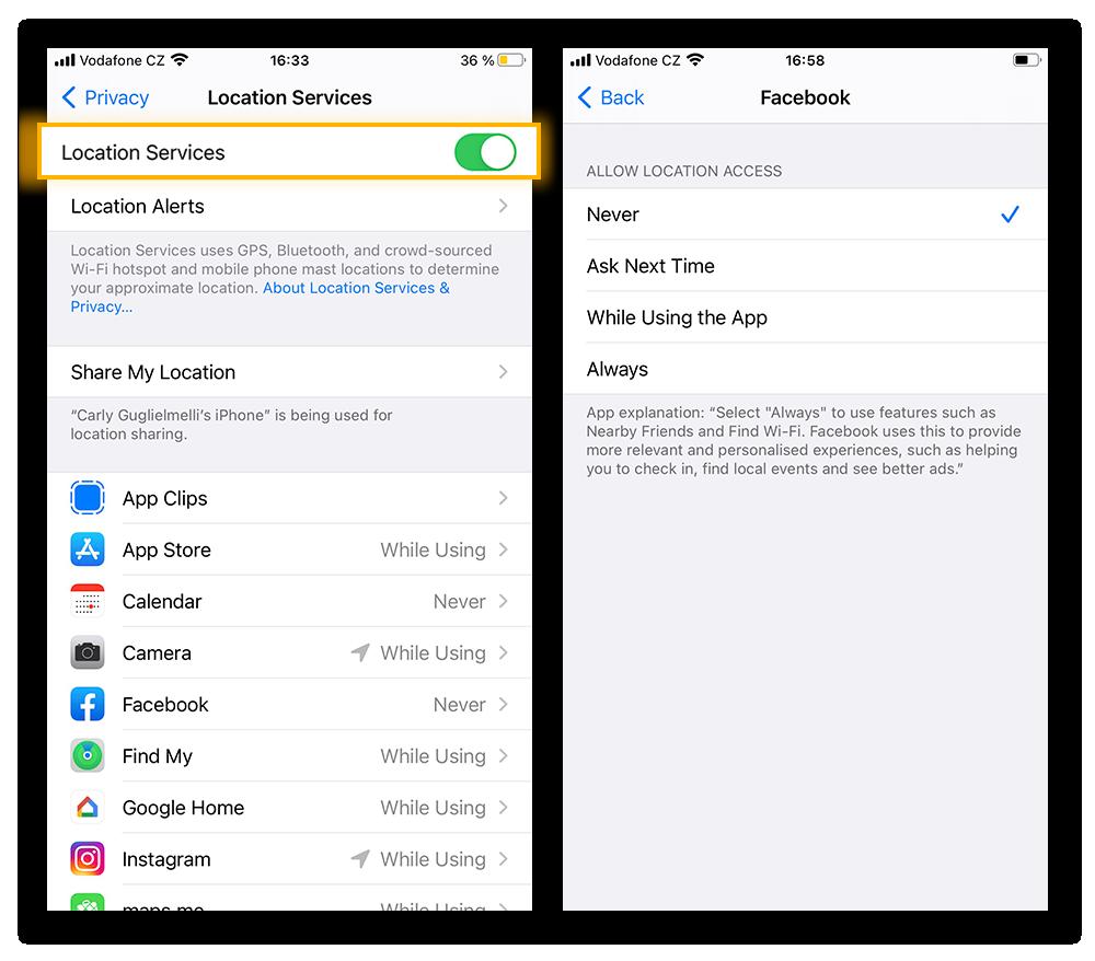 Navigeer naar Locatievoorzieningen op het tabblad Privacy om machtigingen in te stellen voor de iPhone als geheel of voor afzonderlijke apps.