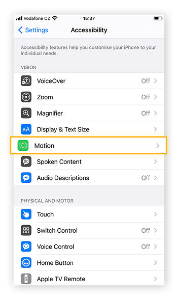 To adjust the way your iPhone displays motions (mostly within apps), select the Motion option within the Accessibility tab.